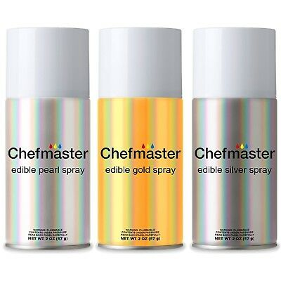 Chefmaster by US Cake Supply Edible Spray Food Colouring 3 Colour Kit in 60ml