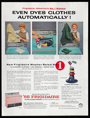 1958 Vintage Print Ad 50's FRIGIDAIRE washer dryer laundry wash clothes image