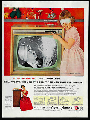 1958 Vintage Print Ad 50's WESTINGHOUSE tv television girl blindfold point image