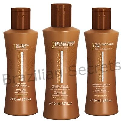 BRASIL CACAU BRAZILIAN KERATIN TREATMENT BLOW DRY HAIR STRAIGHTENING 3x110ml KIT