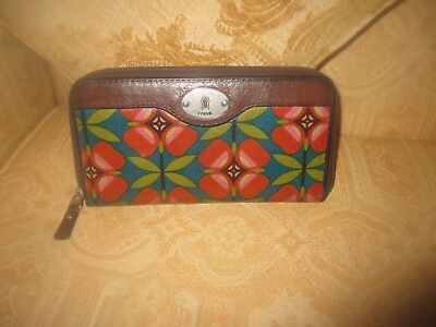 "Large Fossil Colourful Keyper Oilskin/leather Purse/wallet 8.5""x4.5""x1"""
