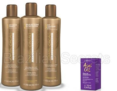 BRASIL CACAU Eco BRAZILIAN KERATIN TREATMENT BLOW DRY STRAIGHTENING 3x300ml KIT