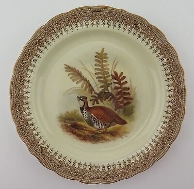 Royal Worcester Vitreous China game service Red Partridge plate 1896