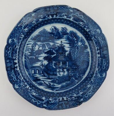 Blue & white trandfer print pearlware plate. Caughley willow pattern c1780