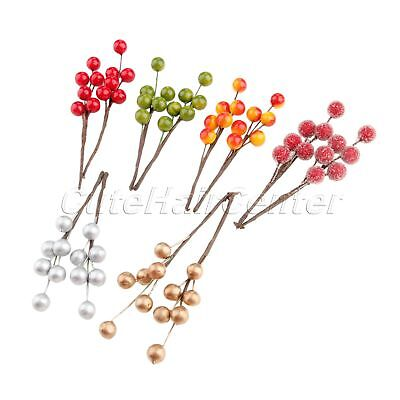 10X Party Artifical Berry Branch Christmas Decoration DIY Wreath Holly Berries