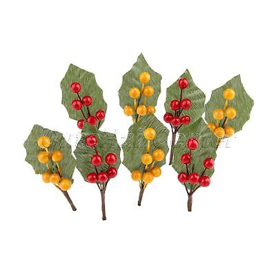 10X Artificial Fruit Berries Branch Decoration Party Fake Berry Flowers Stamens