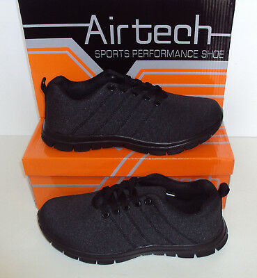 Ladies Running Trainers New Black Casual Lace Up New Sports Shoes Size 4 5 6 7 8