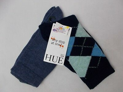 Hue Women's 2-Pk. Solid Argyle Boot Socks Navy Argyle/Denim One Size Made in USA