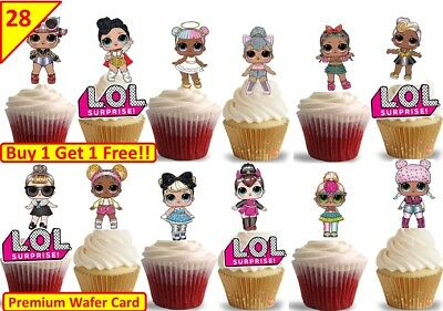 56 LOL SURPRISE DOLLS Glam Glitter Cup Cake Party Toppers Wafer Edible STAND UP