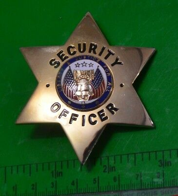 New Security Officer Mirror Gold 6-Point Star Badge Real Metal Made In Usa