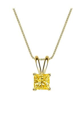 """1.75 Ct Princess Cut Canary Solid 14k Yellow Gold Solitaire Pendant 18"""" Necklace"""