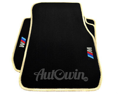 BMW 7 Series F02 Black Floor Mats Beige Rounds With ///M Emblem With Clips NEW