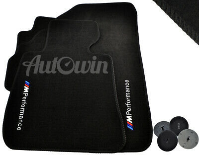 BMW 7 Series F04 Black Floor Mats With ///M Performance Emblem with Clips LHD