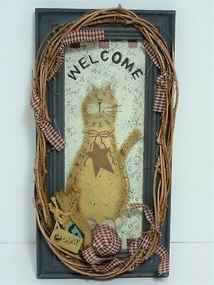 """Kitty Cat Katnip """"Welcome"""" Distressed Wood & Grapevine Wall Hanging"""