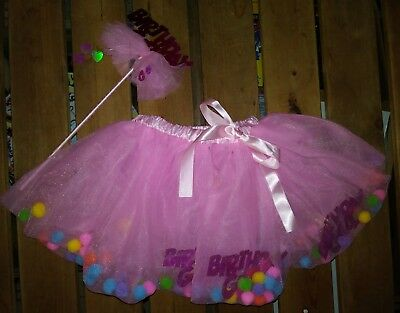 09d6eab3ac Baby Girl 2 Piece Pink Birthday Party Tulle Tutu Skirt Pom Poms 12 Months &  Wand