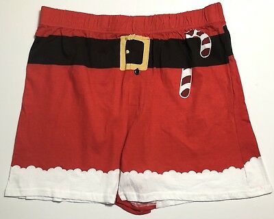 Mad Engine Mens Santa Candy Cane Boxers Christmas Holiday 100% Cotton Medium NWT