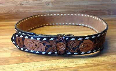 Vintage Ladies Western Leather Belt Hand Carved Rose Leaf Size 30 Belt Factory