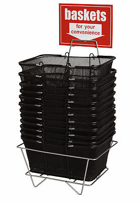 "12 Shopping Metal Baskets Black Wire Mesh 17"" x 12 x 7 Metal Stand Large Sign"