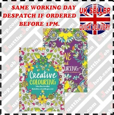 (x2) Adult Colouring Book A4 Size Colour Therapy, Stress Relief
