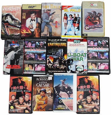 LOT Of 15 VHS VIDEO TAPES Vtg 80s 90s 2000s Action Kung Fu Western & War Movies