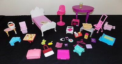 HUGE LOT OF BARBIE AND ACCESSORIES-ESTATE SALE 35 piece table, microwave, bed+