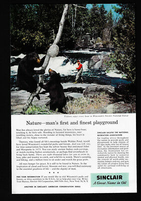 1958 Vintage Print Ad 50's SINCLAIR gas oil Wisconsin  nicolet national forest