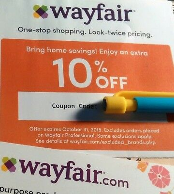 WAYFAIR Coupon ~ 10% Off Entire FIRST ORDER ~ October 31, 2018