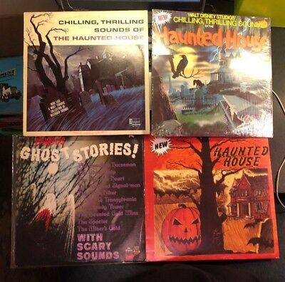 Haunted House LP Lot of 4 Famous Ghost Stories Disney Chilling Thrilling Sounds