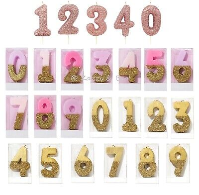 Pastel Pink Gold Rose Gold Glitter Number Candle Birthday Cake Topper 0 - 9 1st