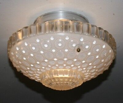 Antique frosted glass 1000 eye shade Art Deco flush mount ceiling light fixture