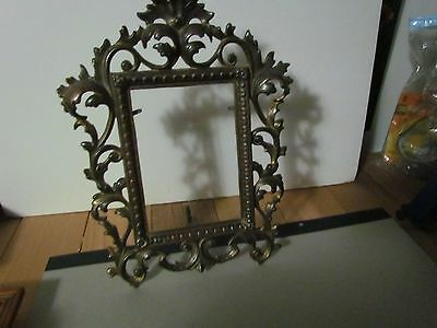 Beautiful Antique Picture Frame Art Nouveau Cast Iron Ornate  Pic -5 3/4X4""