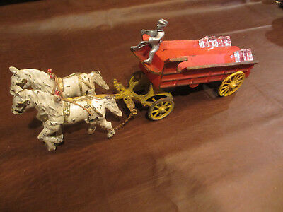 "VINTAGE ANTIQUE 1900s LARGE 16.5"" CAST IRON HORSE DRAWN ICE WAGON WITH DRIVER"