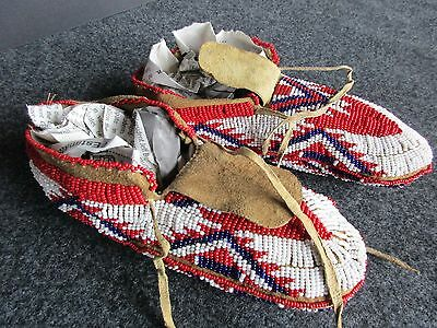 Native American Fully Beaded Leather Moccasins, Plains Indian   Buf--00370