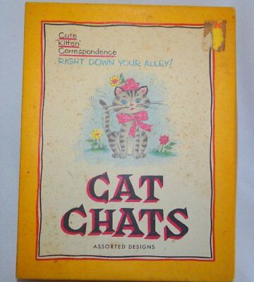 13 Sheets of Vintage Cat Chats Stationary by Western Art and Original Box