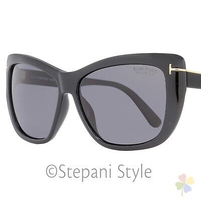 061cff94a14b Tom Ford Rectangular Sunglasses TF434 Lindsay 01D Black Gold Polarized  FT0434