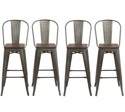 """Antique Bronze Distressed Rustic Wood 30"""" High Back Chair Bar Stool Set of 4 Bar"""