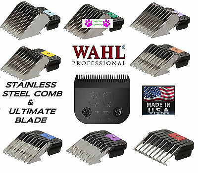WAHL ULTIMATE 30 Clipper BLADE&Metal Attachment Guide Guard COMB FIT Andis AG/BG
