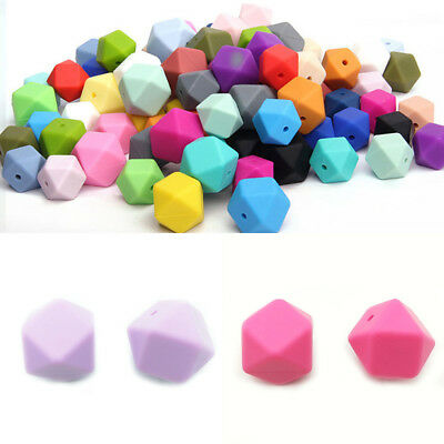 1/5/10Pcs Hexagon Silicone Teething Beads Jewelry DIY Necklace Baby Chew Teether