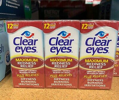 3 PACK - CLEAR EYES Maximum Redness Relief Eye Drops 0.5 fl oz - SHIPS FREE!