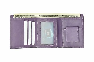 Genuine Leather Kids Small Trifold/Money Wallet By Marshal Purple