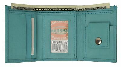 GENUINE LEATHER KIDS SMALL TRIFOLD/MONEY WALLET BY MARSHAL Baby Blue
