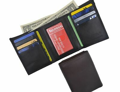 Men's Genuine Leather Trifold Credit Card ID Window Holder Black Wallet Gift New