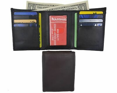 Men's Genuine Leather Trifold Wallet Black Brown 8 Credit Card slots ID window