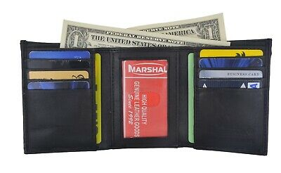 Men's Genuine Leather Trifold Wallet Black 8 Credit Card slots ID window