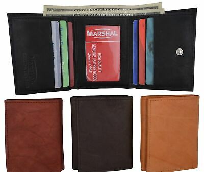 Mens Genuine Cowhide Leather ID Card Holder Trifold Wallet with Coin Pouch