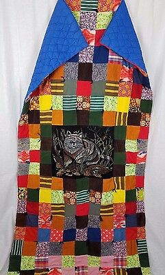 Vintage 70s Handmade Hand Quilted Velvet Raccoon Patchwork Lap Twin Quilt 42x78