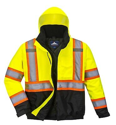Portwest US368 High-Visibility Contrast Tape Bomber Jacket Class 3 - NEW!