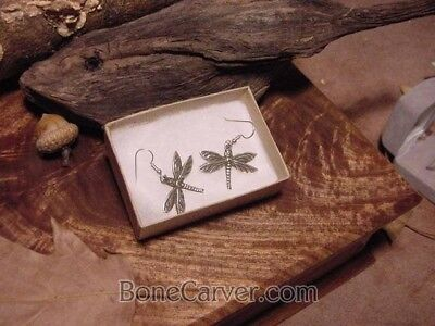 Solid Sterling silver Dragonfly EARRINGS exclusive design dragonflies Bonecarver