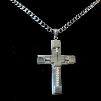30IN MENS S.steel 5mm Silver Cuban Curb Link Chain Necklace Cross Pendant
