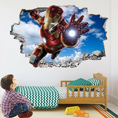 SUPERHERO 3D WALL Art Sticker Decal Marvel Avengers Spiderman Hulk ...